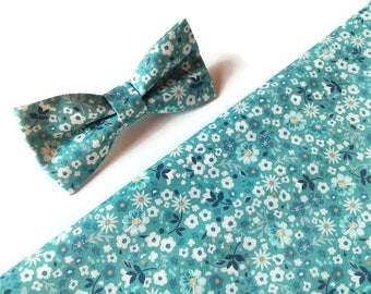 Men's gift Grey blue floral bow tie Grey blue pocket square Husband gift Groom tie Groomsmen gifts Holiday gift Birthday gift Wedding gift