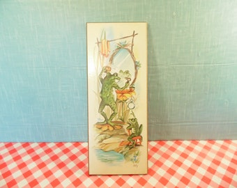 Vintage Bathroom Wall Hanging - Frog Art - Coby - 1970s