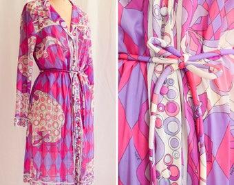 Emilio Pucci for Formfit Rogers Vintage 1960's Nightshirt Dress with Belt Pink Purple Op Art Print w/ EPFR Signature | Harlequin Dreams | L