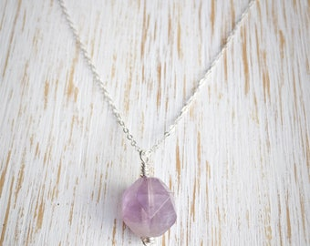 Dainty Amethyst Necklace, 100% Sterling Jewelry, February Birthstone, Amethyst Jewelry, Silver Necklace Healing Crystal Jewelry Gift for Her