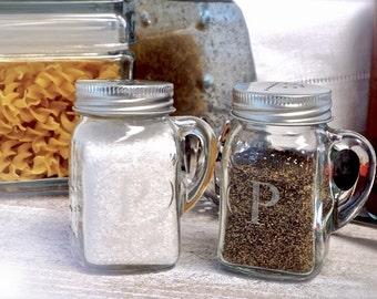 Monogrammed Salt and Pepper Mason Jar Shakers
