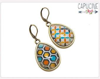 Geometric shape drop earrings - Drop earrings with Glass dome geometric shape