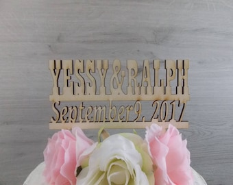 cake topper with date 'first names' - wedding, cake figurine