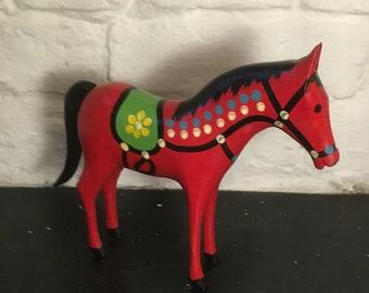 Vintage 1970s Polish Folk Art Painted Wooden Horse