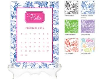 2018 Desk Calendar / Custom Calendar / Calendar with Stand / Personalized Calendar / 2018 Custom Calendar / Monogrammed Calendar / Preppy
