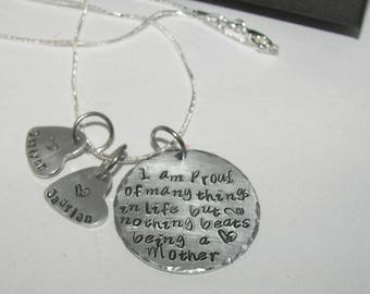 Nothing beats being a mom,  God created mothers, Hand stamped jewelry, mommy jewelry, personalized jewelry, engraved, custom stamped