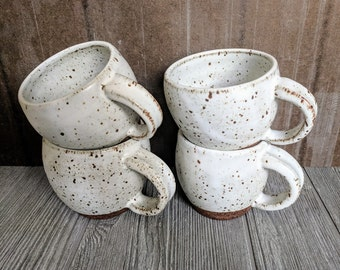 White Matte Ceramic Mug, Speckled Pottery Mug, Handmade Coffee Cup, Pottery Mug, White Stoneware Rustic Mug, Farmhouse Pottery