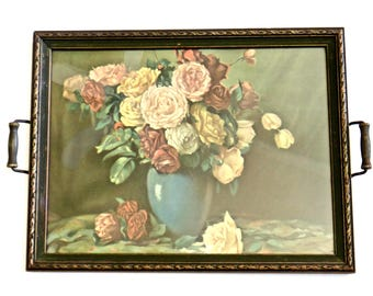 Antique, Wood and Glass Serving Tray, Roses in a Vase Print, Vintage Hardware and Frame, Serving Tray or Wall Art