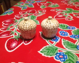 Vintage  ceramic acorn salt and pepper shakers