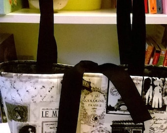 Handcrafted, Vintage Paris 2 handbag, knitting bag, purse