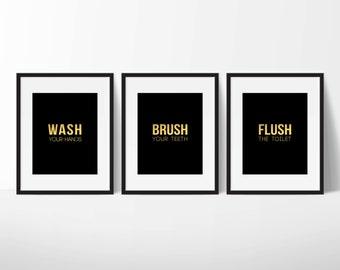 Bathroom Prints, Restroom Sign, Home Decor Sign, Bathroom Decor, Wash Sign, Modern Print, Printable Art, Cafe Decor, Wall Poster
