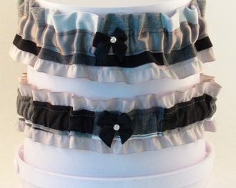 Grey Plaid Wedding Garter Set- Extra Large