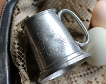 Vintage Pewter Humpty Dumpty Engraved Baby Cup Made in England
