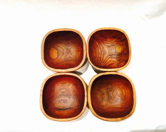 4 Wooden bowls, Wood salad bowls, Rustic kitchen, Small wood bowls, Wood serving set, Rustic gift idea, Teak wood bowls, Nut bowls