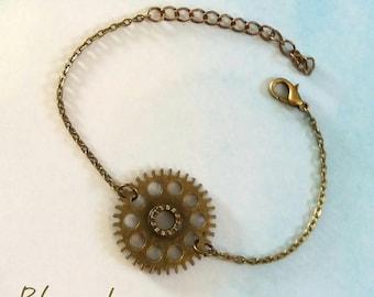 Bronze steampunk gear bracelet