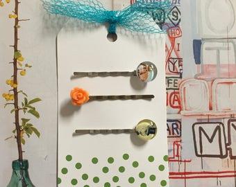 Spring themed hair clips