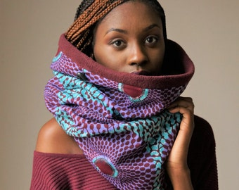 RESERVED for ABENA Target African Print Gift for her snood with maroon fleece,  Foulard d'hiver tissue, Ethnique Echarpe tube en molleton