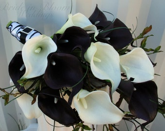 Wedding bouquet real touch calla lily bridal bouquet wedding bouquet real touch plum black white calla lily bridal bouquet damask wedding flowers mightylinksfo