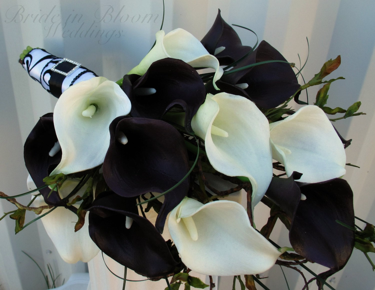 Wedding bouquet real touch plum black white calla lily bridal zoom izmirmasajfo Choice Image