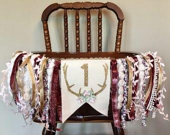 Rustic Floral Antler Banner- Highchair Banner