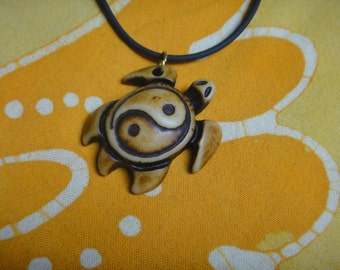 Carved Sea Turtle Yin Yang Pendant Necklace