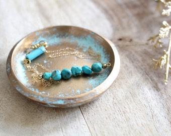 TURQUOISE DISTRESSED // Handmade Polymer Clay Jewelry Dish, Ring Dish, Trinket Dish