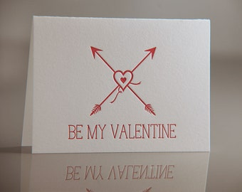Be My Valentine Card - Hearts and Arrows Card - Red Arrows Valentine Card - Letterpress Cards