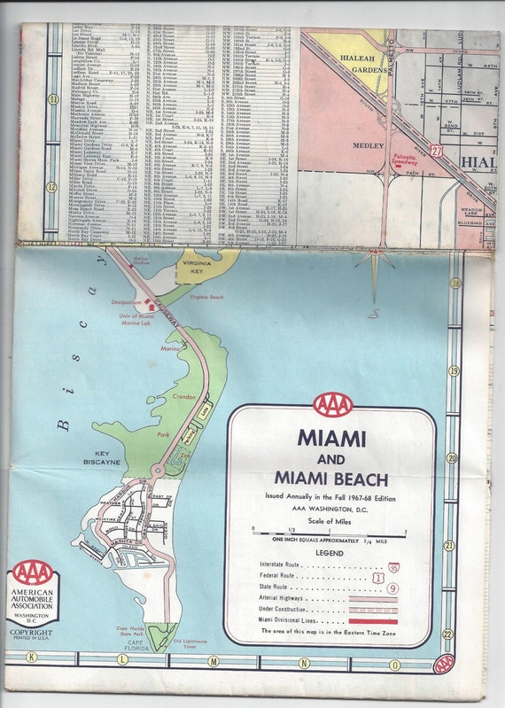196768 AAA Map of Miami Miami Beach Fort Lauderdale Good