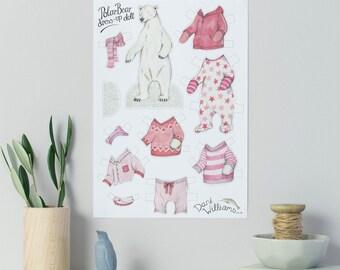 Polar bear dress up paper doll with clothes - polar bear gift - children's activity - hand drawn paper doll animal - polar bear with clothes