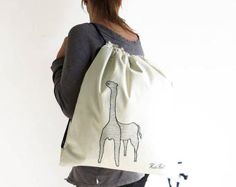 ON SALE canvas drawstring backpack Giraffe embroidered CITY, urban backpack, city backpack, cool rucksack, funny backpack, valentines gift