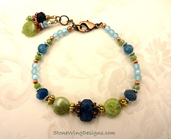 Green Garnet Bracelet Blue Apatite Bracelet Bohemian Bracelet Boho Bracelet Casual Bracelet Rustic Bracelet Aqua Gemstone Green Gemstone