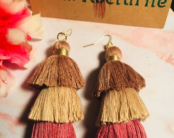 Rose and Gold Ombre Tassel Earrings