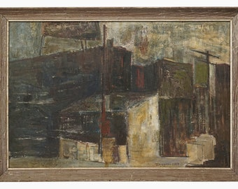 1957 Spizzirri Abstract Oil Painting on Canvas Mid Century Modern Abstraction