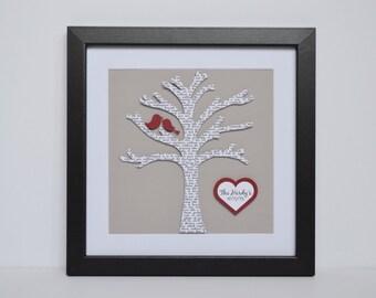 Song Lyric Art- Framed Lyrics, First Dance, Unique Anniversary Gift, Custom Wedding Gift, Lyric Tree, Tree with Initials, Framed Paper Art