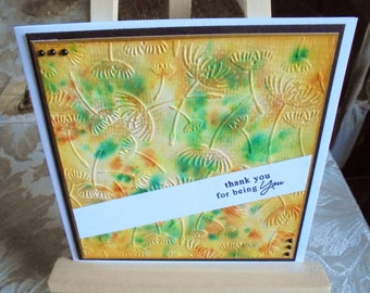 Thank you card. Blank thank you card. Thank you friend. Thanks for being you. Thanks for being there. Lemon and green. Water colour card.