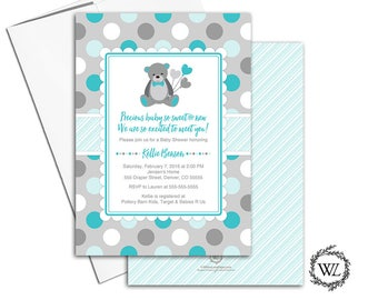 Teddy bear baby shower invite gender neutral baby shower invitations, turquoise gray polkadots, printable or printed cards - WLP00758