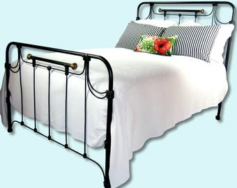 Full Antique Cast Iron Bed Frame Double, antique wrought iron bed, antique iron bed, antique metal bed, antique steel bed