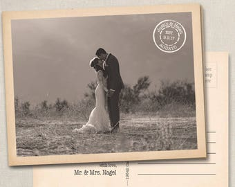 Nikki 50M Wedding Thank You Photo Postcards Cards Notes Magnets Magnet vintage postmark postcard country postage thank you stamp travel