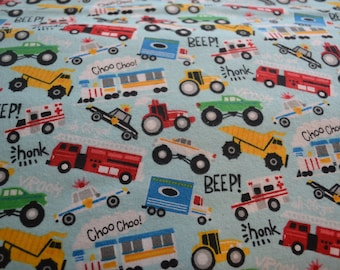 Snuggle Flannel Beep Honk Vroom Bright Colored Trucks Cars on White Print Fabric By the Yard Kids Baby Children Sewing Quilting