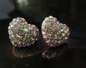 Silver AB Heart Earrings - Stud Earrings - Rhinestone AB Silver Heart Earrings - Beach Earrings - Beach Wedding - Nautical Jewelry