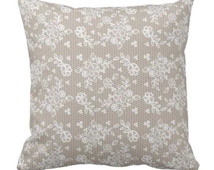 Throw Pillow Tan Lace Floral