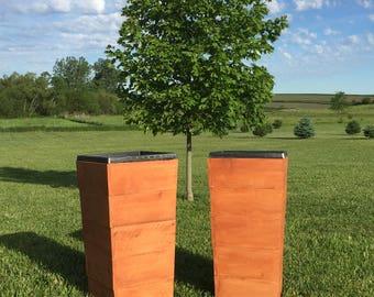 "30"" Cedar Wood planter - Natural ----  Tall Planter / Cedar Planter / Cabin Planter / Rustic Planter / Fall Planter / Tapered Planter"