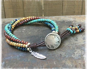 Native American Bracelet/ Beaded Wrap Bracelet/ Seed Bead Wrap Bracelet/ Southwestern Jewelry/ Boho Leather Wrap Bracelet.