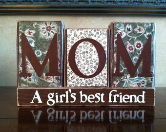 Mother's Day Gift - Wood MOM blocks - Wood Mother's Day Blocks - Home decor  - Mother's Birthday Gift - Christmas Gift