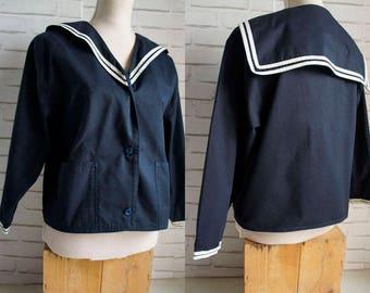 Sailor style Vintage Jacket. Large size Sailor collar jacket.