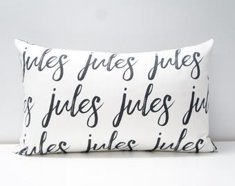 Pillow Cover - Personalized Pillow Cover, made to order, any name available, black and white typography