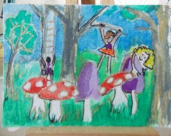 ACEO watercolour Woodland folk