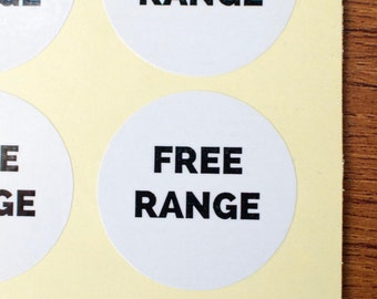 34mm free range stickers white glossy paper black ink 90pcs