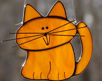 Stained Glass Adorable Orange Tabby Cat