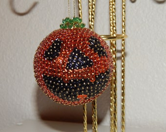 Hand Sequined Large Pumpkin Ornament